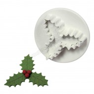 Veined Three Leaf Holly Plunger Cutter - Medium