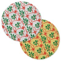 "Holly & Ribbons Design 8"" Round Cake Board"