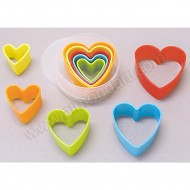 Plastic Heart Cookie Cutters - Set of 5