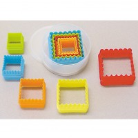 Plastic Square Cookie Cutters - Set of 5