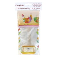 12 Easter Confectionery Bags & Ties - 100mm x 220mm