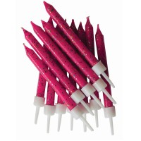 Fuchsia Glitter Candles With Holders - 12pk