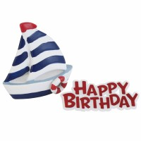 Sailing Boat Resin Topper & Happy Birthday Motto