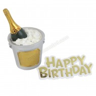 Champagne Bucket Resin Topper & Happy Birthday Motto