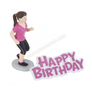 Female Runner Resin Topper & Happy Birthday Motto