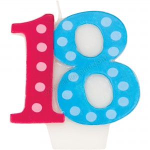 18 Bright & Bold Number Birthday Candle