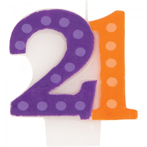 21 Bright Bold Number Birthday Candle