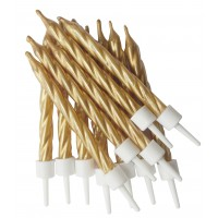 Gold Spiral Candles With Holders - 12pk