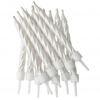 Pearlescent White Spiral Candles With Holders - 12pk