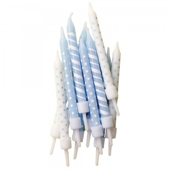 Blue Polka Dot & Candy Cane Stripe Candles With Holders - 12pk