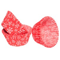 Red Snowflake Muffin cases - 100pk