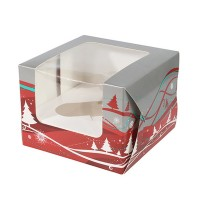 Silver & Red Christmas Design SIngle Cupcake Box & Insert