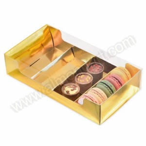 Gold Cookie / Biscuit Box with Clear PVC Lid