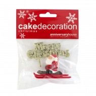 Assorted Santa on Sleigh & Motto - Set of 2