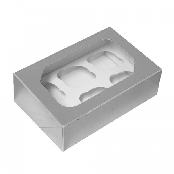 Silver Cupcake Box - Holds 6