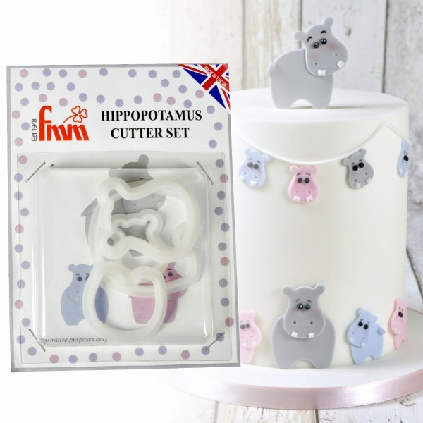 Mummy & Baby Hippopotamus Cutter Set - 4 Piece