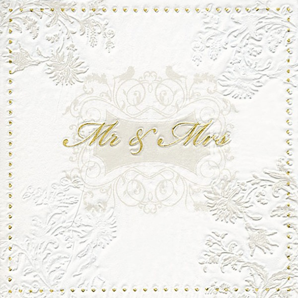 Mr & Mrs Wedding Napkins Gold & Ivory - 3 ply - 16pk