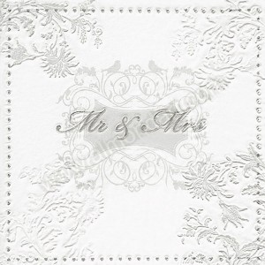 Mr & Mrs Wedding Napkins Silver & White - 3 ply - 16pk