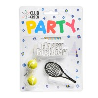 Tennis Candles & Happy Birthday Motto - 4pk