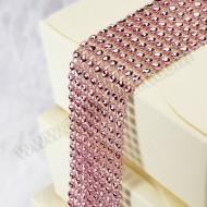 Pink Diamante Effect 8 Row Band - 1.5mtr