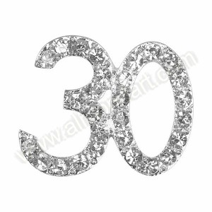 Small Silver 30 Diamante Decoration