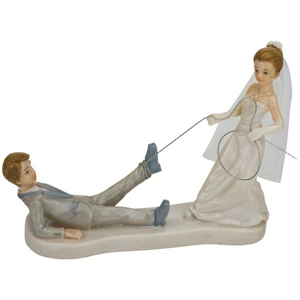 Glazed Bride Dragging Groom Cake Topper