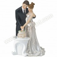 Bride & Groom Cutting Wedding Cake - Cake Topper