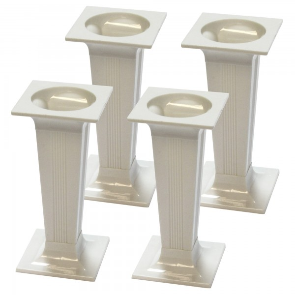 Square White Cake Pillars - 4pk