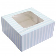 "Blue Stripe Party Box - 6"" x 6"" x 3"""