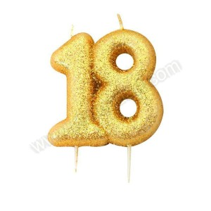 18 Gold Glitter Number Candle