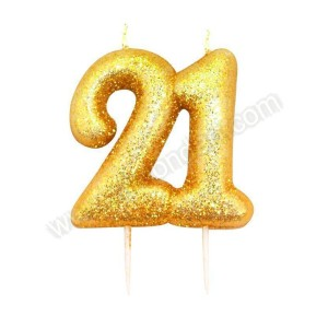 21 Gold Glitter Number Candle