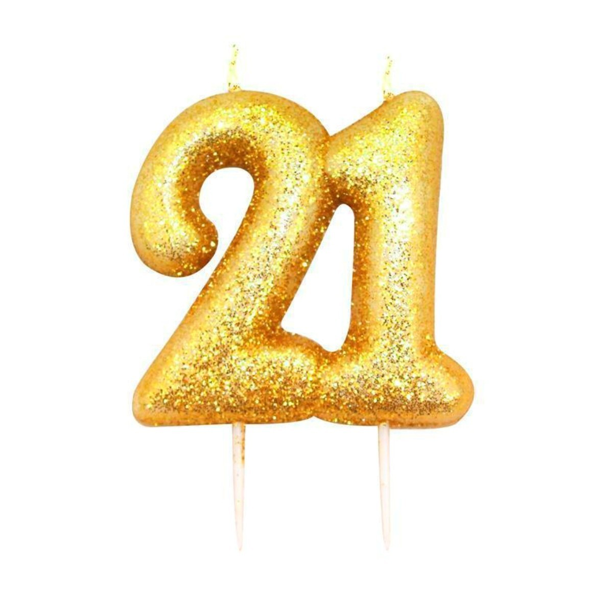 Buy 21 Gold Glitter Number Candle Online