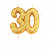30 Gold Glitter Number Candle