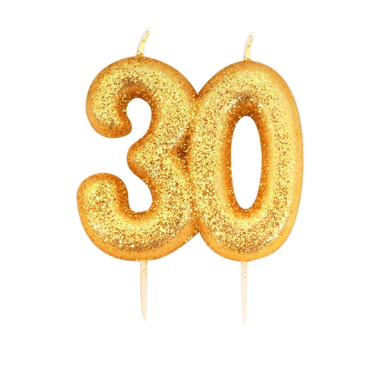 Buy 30 Gold Glitter Number Candle Online