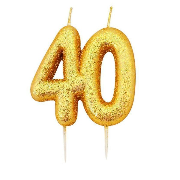 40 Gold Glitter Number Candle