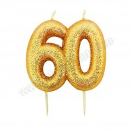 60 Gold Glitter Number Candle