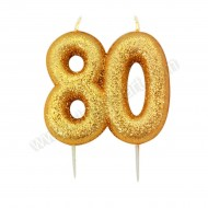 80 Gold Glitter Number Candle