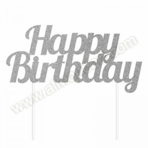 'Happy Birthday' Silver Glitter Cake Topper