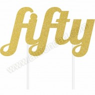 'Fifty' Gold Glitter Cake Topper