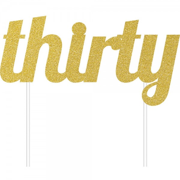 'Thirty' Gold Glitter Cake Topper