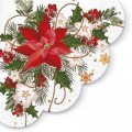 Poinsettia Composition - Round Napkin - 12pk