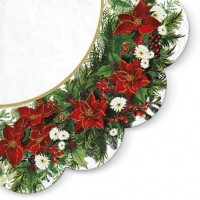 Poinsettia Wreath White - Round Napkin - 12pk
