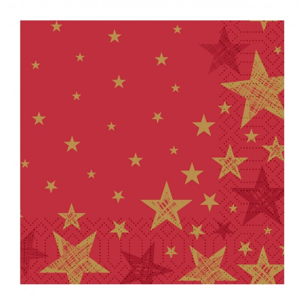Shining Red Star Napkins - 20pk