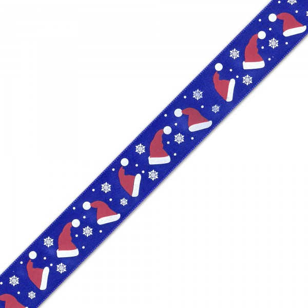 Blue Santa Hat Ribbon - 25mm - 1m
