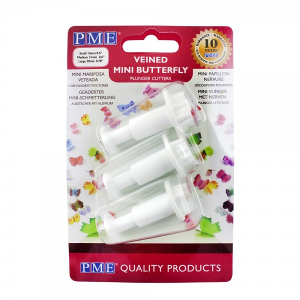 PME Veined Mini Butterfly Plunger Cutters - Set of 3