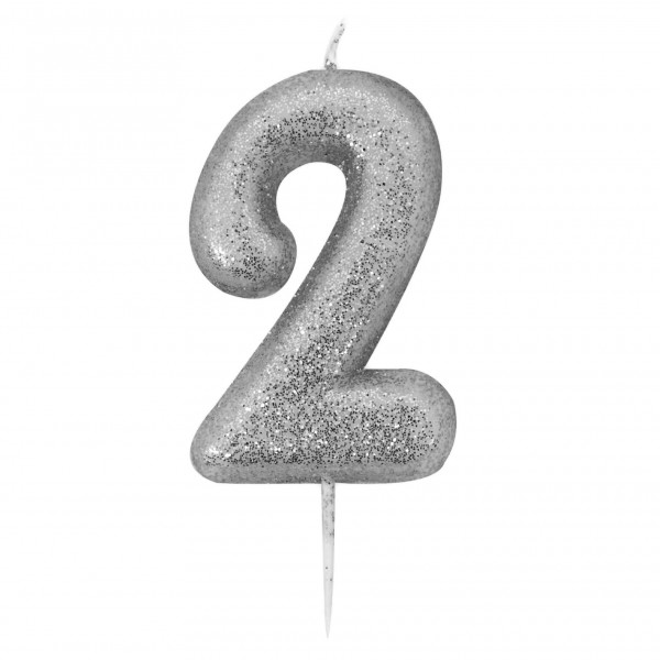 '2' Silver Glitter Candle with Pick