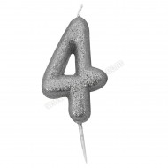 '4' Silver Glitter Candle with Pick