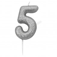 '5' Silver Glitter Candle with Pick