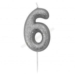 '6' Silver Glitter Candle with Pick