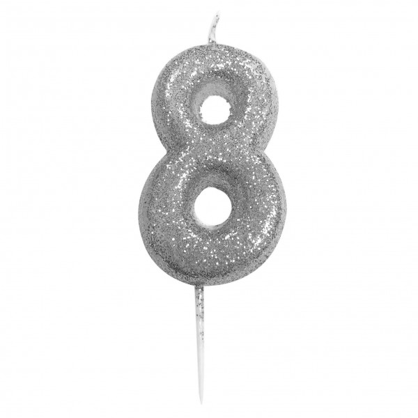 '8' Silver Glitter Candle with Pick